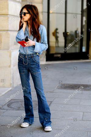 Stock Photo of Stephanie LaCava before Schiaparelli Haute Couture, Place Vendome