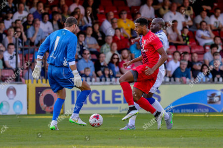 Stock Picture of Ross Turnbull, Vadaine Oliver & Sol Bamba during the Friendly match between York City and Leeds United at Bootham Crescent, York