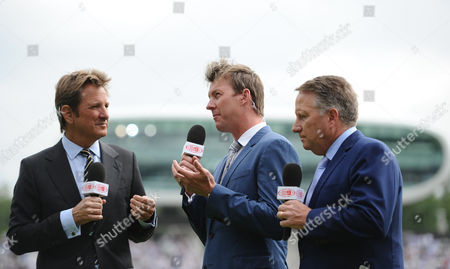 Former Australia fast bowler Brett Lee working alongside television presenter Mark Nicholas during the Second Ashes Test at Lord's Cricket Ground