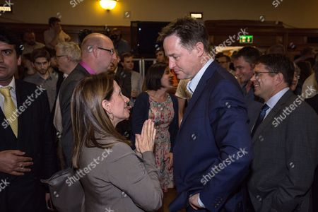 Stock Photo of Nick Clegg speaking with Lynne Featherstone