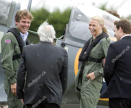 Matt Jones, veteran pilot Squadron Leader Geoffrey Wellum and Jodie Kidd with Spitfire