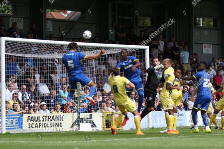Kyle Taylor and Ben Elliott celebrate during the Pre-Season Friendly match between AFC Wimbledon and Millwall at the Cherry Red Records Stadium, Kingston