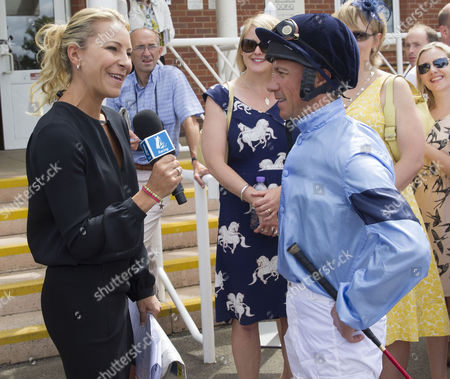 Jockey Frankie Dettori being interviewed by Channel 4's Emma Spencer.