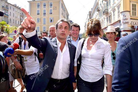 Nicolas Sarkozy, French Deputy and Mayor of Nice, Christian Estrosi, Carla Bruni-Sarkozy and Maud Fontenoy