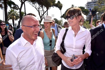 Carla Bruni-Sarkozy, Maud Fontenoy and French Deputy and President of the Department Council of the Alpes Maritimes, Eric Ciotti