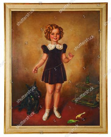 Oil painting of Shirley Temple in brown dress with corky and canary by Costa