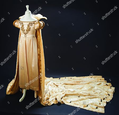 Royal satin gown and extended faux ermine robe worn by Shirley Temple from the 1939 film ' The Little Princess'