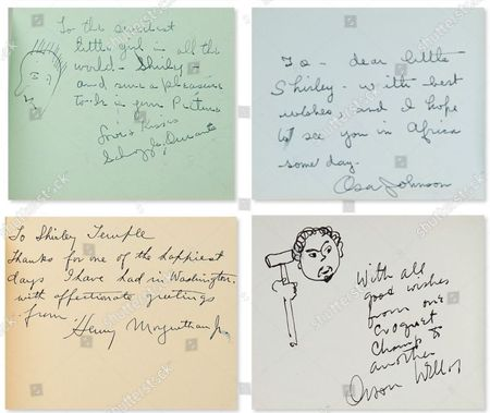 Stock Photo of Personal autographs in Shirley Temple's 1937-1939 autograph book