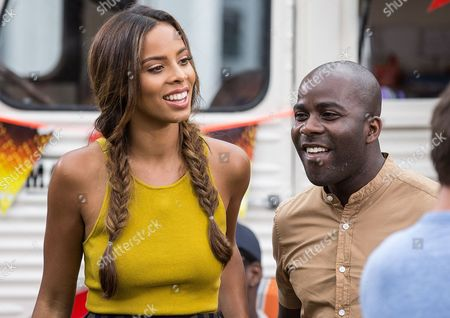 Xtra Factor hosts Rochelle Humes and Melvin O'Doom filming a segment outside the SSE Arena in Wembley.