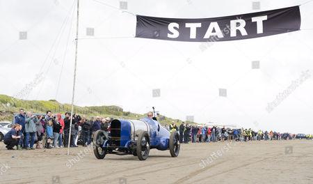 Editorial image of Bluebird 350hp Sunbeam 90th anniversary demonstration run, Pendine Sands, Wales, Britain - 21 Jul 2015