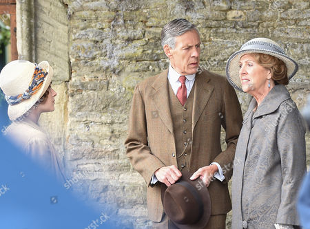 Douglas Reith and Penelope Wilton on the Downton Abbey set for final day of filming in Bampton, Oxfordshire