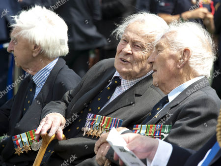 Veterans: Flying Officer Ken Wilkinson, Squadron Leader Geoffrey Wellum and Squadron Leader Tony Pickering during the Battle of Britain Memorial fly-past