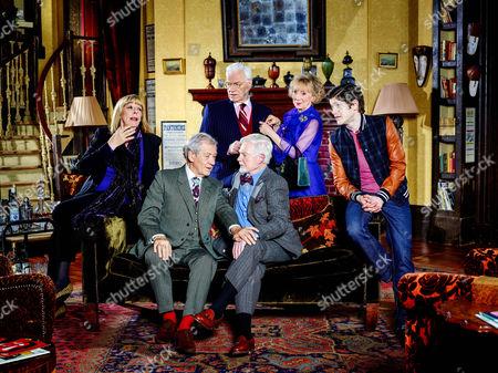 Stock Picture of Violet [Frances de la Tour], Freddie [Ian McKellen], Mason [Philip Voss], Stuart [Derek Jacobi], Penelope [Marcia Warren] and Ash [Iwan Rheon]
