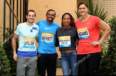 (L-R) France's Renaud Lavillenie, USA's Aries Merritt, USA's Sanya Richards-Ross and New Zealand's Valerie Adams poses ahead of the Sainbury's Anniversary Games