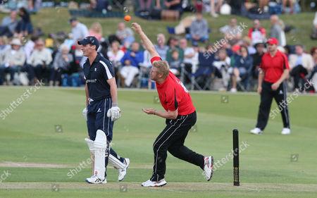 Matthew Hoggard bowls as Simon Jones backs up