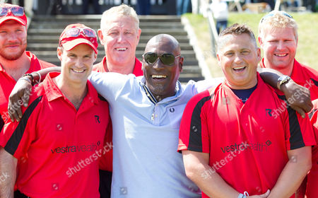 Stock Picture of Andrew Strauss (L), Viv Richards and Darren Gough (R) with Matthew Hoggard (Rear right)