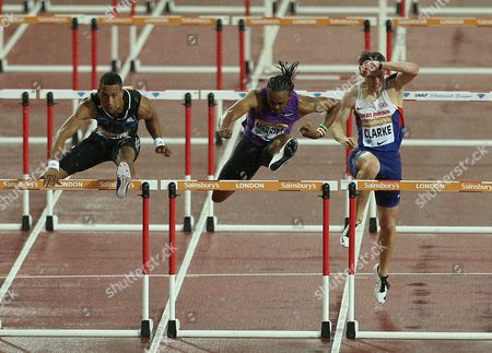 (L-R) Cuba Orlando Ortega, USA's Arise Merritt and Great Britain Lawrence Clarke during the Men's 110  meters Hurdles heats
