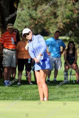 Natalie Gulbis of Las Vegas, Nevada hits onto the 8th green during the second round