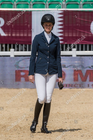 Athina Onassis-de Miranda takes part in the Longines Global Champions Tour showjumping event held at Syon Park