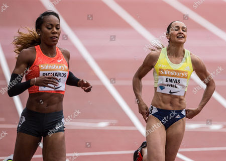 Jessica Ennis and Sanya Richards-Ross in the Womens 200m at the Sainsbury's Anniversary Games, which is being held in the Olympic Stadium at the Queen Elizabeth Olympic Park.
