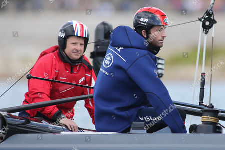 Sir Charles Dunstone (left) Chairman of the team Land Rover BAR board watches on as a guest on board as Sir Ben Ainslie prepares prior to racing on Day Three of the Louis Vuitton America's Cup World Series in Portsmouth.