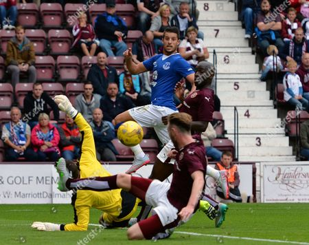 Kevin Mirallas of Everton lifts his shot over the oncoming Neil Alexander of Heart of Midlothian FC (left) only for it narrowly go wide of the goal