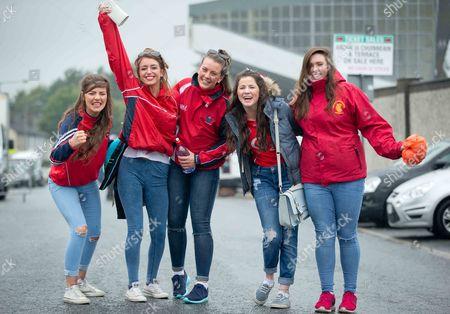 Emily Falvey, Laura Fitzpatrick, Fiona O'Sullivan, Eimear Falvey and Bronagh Ganley on their way into Semple Stadium
