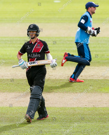 Max Waller of Somerset looks dejected after being caught out for 6 by Chesney Hughes of Derbyshire (b. Ben Cotton)