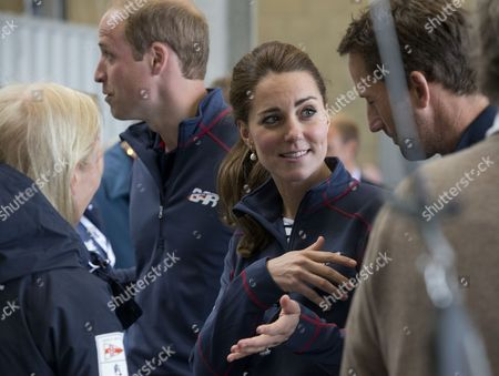 Catherine Duchess of Cambridge visiting the Land Rover BAR Racing Team's base in Portsmouth. talking to Wendy Schmidt (wife of Eric Schmidt, the Executive Chairman of Google) & Sir Ben Ainslie