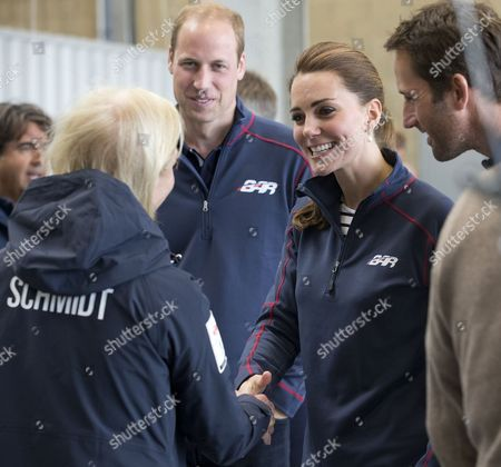 Prince William and Catherine Duchess of Cambridge visiting the Land Rover BAR Racing Team's base in Portsmouth. talking to Wendy Schmidt (wife of Eric Schmidt, the Executive Chairman of Google) & Sir Ben Ainslie