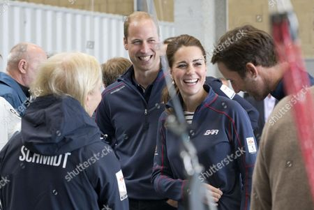 Prince William and Catherine Duchess of Cambridge visiting the Land Rover BAR Racing Team's base in Portsmouth. talking to Wendy Schmidt (wife of Eric Schmidt, the Executive Chairman of Google) & Ben Ainslie