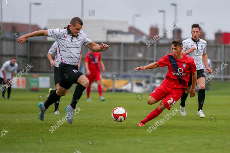 Chris Hunter and Callum Nzonca during the Friendly match between Darlington 1883 and York City at Darlington Arena, Darlington