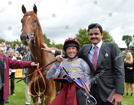 Galileo Gold and jockey, Frankie Dettori with Sheikh Joaan bin Hamad bin Khalifa Al-Thani after winning The Qatar Vintage Stakes on the first day of Glorious Goodwood at Goodwood Racecourse. Pic: Hugh Routledge.28.7.15