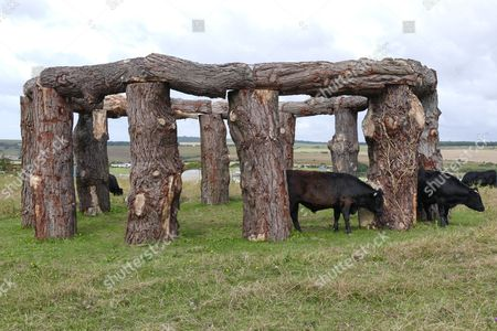 Woodhenge created by Square & Compass pub owner Charlie Newman in a field by the pub