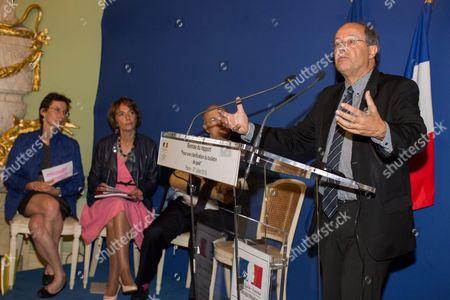 Stock Picture of Clotilde Valter, Marisol Touraine, Michel Sapin, Jean-Christophe Sciberras