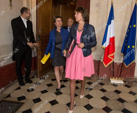 Editorial image of Michel Sapin, Clotilde Valter, Marisole Touraine, delivery of the report on simplifying the pay slip, Paris, France  - 27 Jul 2015