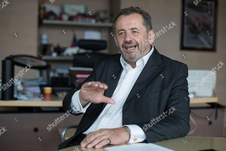 Stock Picture of Guillaume Sarkozy Delegate General of Malakoff Mederic in his office.