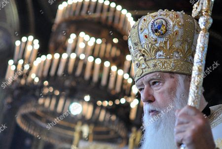 The head of the Ukrainian Orthodox Church Patriarch Filaret holds services during the celebration of the 1000th anniversary of great Prince Vladimir