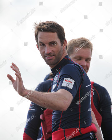 Ben Ainslie and David Carr after the first leg of the America's Cup World Series in Portsmouth this weekend