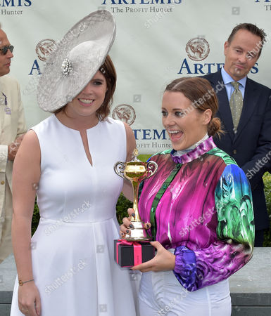 Princess Eugenie presents Camilla Henderson with the trophy after winning The Magnolia Cup Goodwood Ladies' Race on Ladies' Day At The Goodwood Festival @ Goodwood Racecourse. Pic: Hugh Routledge. 30.7.15