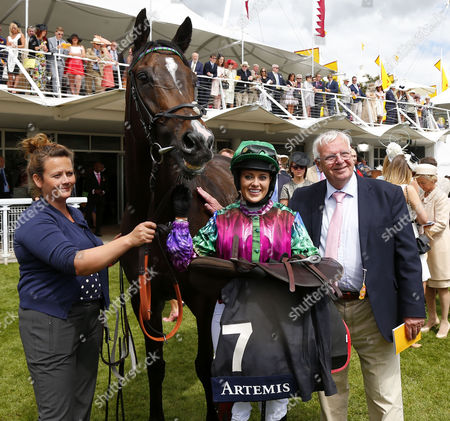 High Fidelity and Camilla Henderson after winning The Magnolia Cup Goodwood
