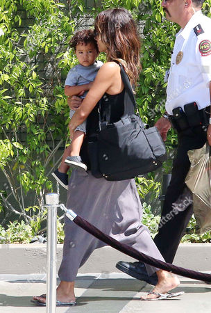 Halle Berry and son Maceo Martinez leaving the Westfield Mall in Century City