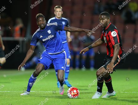 Sammy Ameobi of Cardiff City  and Sylvain Distin of Bournemouth- Mandatory by-line: Paul Terry/JMP