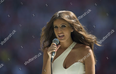 Faryl Smith sings the National Anthem ahead of the FA Community Shield played at Wembley Stadium