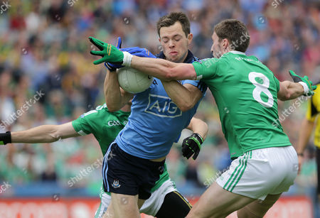 Stock Picture of Dublin's Dean Rock with Mickey Jones and Eoin Donnelly of Fermanagh