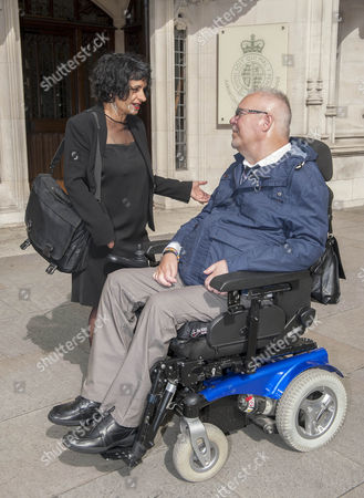 Paul Lamb At The Supreme Court Westminster. He And Campaigners Have Lost Their Appeal Over The Right To Die. The Case Also Involved The Late Tony Nicklinson Who Had Locked In Syndrome As Well As Paul Lamb Who Was Paralysed In A Crash. Pictured With Lambs Solicitor Saimo Chahal.