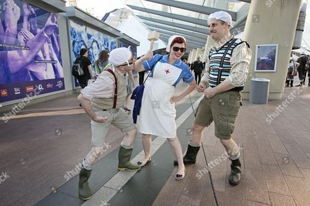 Monty Python Fans At The O2 Arena - (left To Right) Ben Wood Alice Palmer And Gav Nicholson.