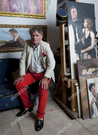 Stock Photo of Royal Artist Howard Morgan In His Battersea Studio For Richard Kay Interview Picture Murray Sanders.