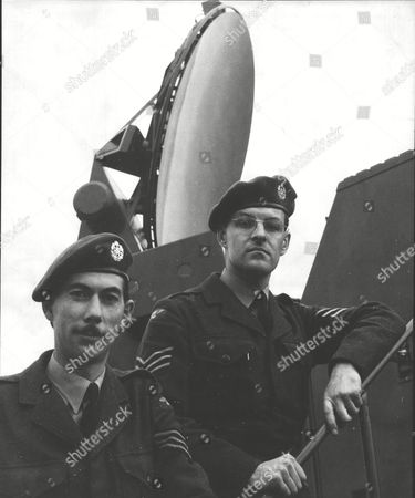 Stock Picture of Donald Allison (right) And Patrick Macdonald At Britain's First Guided Missile Base R.a.f. Station North Coates Lincolnshire. Box 0607 050315 00432a.jpg.