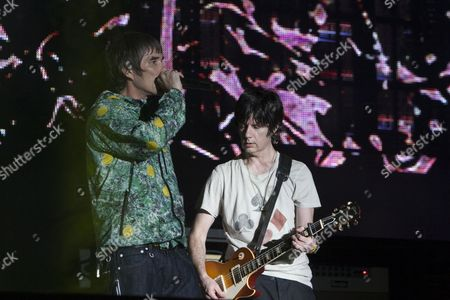 John Squire & Ian Brown from the Stone Roses performs at the V Festival, Chelmsford, 18/08/12